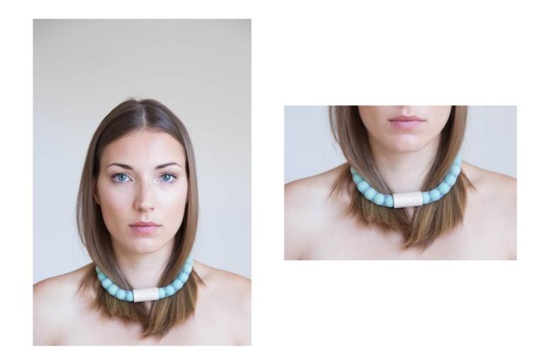 Adéla Pečlová | WOOD kolekce - náhrdelník javor zelený 01